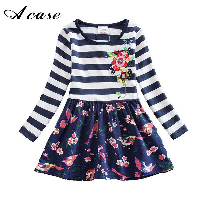 3 4 5 6 7 8 Years Little Girls Spring Dress 2018 Kids Embroidery Stripe Long Sleeve Costume Polka Dot Toddler Floral Dresses floral green 4 5 8 x 6 7 16 cello sleeve 100 per pack
