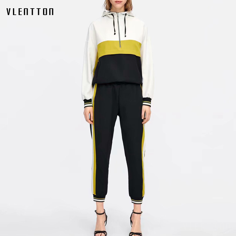 Pink Women's Two Piece Set Long Sleeve Spliced Hooded Outfits Jacket And Jogging Sports Pants Suit Casual Tracksuit For Women