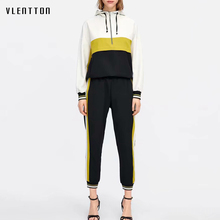 Pink Women's Two Piece Set Long Sleeve Spliced Hooded Outfits Jacket And Jogging Sports Pants Suit Casual Tracksuit For Women цена