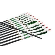 12 Columna unids/pack 500 Flechas de Carbono Punto de Destino Flechas de Tiro Con Arco Flechas con Punta Cambiable Punto Pluma de Turquía OD7.6mm