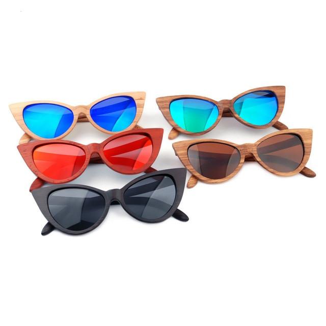 a266a72abf Luxury Brand Polarized Sunglasses Women Fashion Cat Eye 100% Wood Sunglass  Ladies Outdoor UV400 Polaroid Lens Bamboo Eyewear