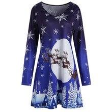 Vestido de fiesta informal elegante Vintage Navidad estampado etiqueta azul marino ocio manga larga cuello redondo cómodo para mujer