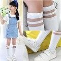 6 Pattern Мода Harajuku Девочки Дети Милый Котенок Звезды Высокой Упругой Чулок Тонкий Сетка Колготки