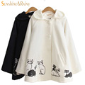 2016 autumn winter new female cat printed coats Japanese style hooded coat horn button navy college students warm jacket woman