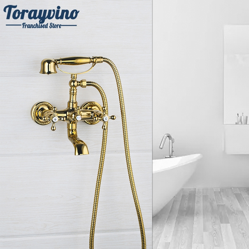 Bathtub Faucet Shower Set Wall Mounted Mixer Double Handles Golden With Hand Holder Shower Bathtub Tap Basin Faucets polished chrome double cross handles wall mounted bathroom clawfoot bathtub tub faucet mixer tap w hand shower atf902