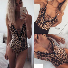 Sexy Women Ladies Slim Bodysuit Party Leopard Print Romper Stretch Leotard Top