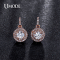 UMODE Fantastic Halo 0.5ct CZ simulated Diamond Rose Gold Plated Dangle Drop Earring Jewelry for Women Pendientes Brinco UE0198A
