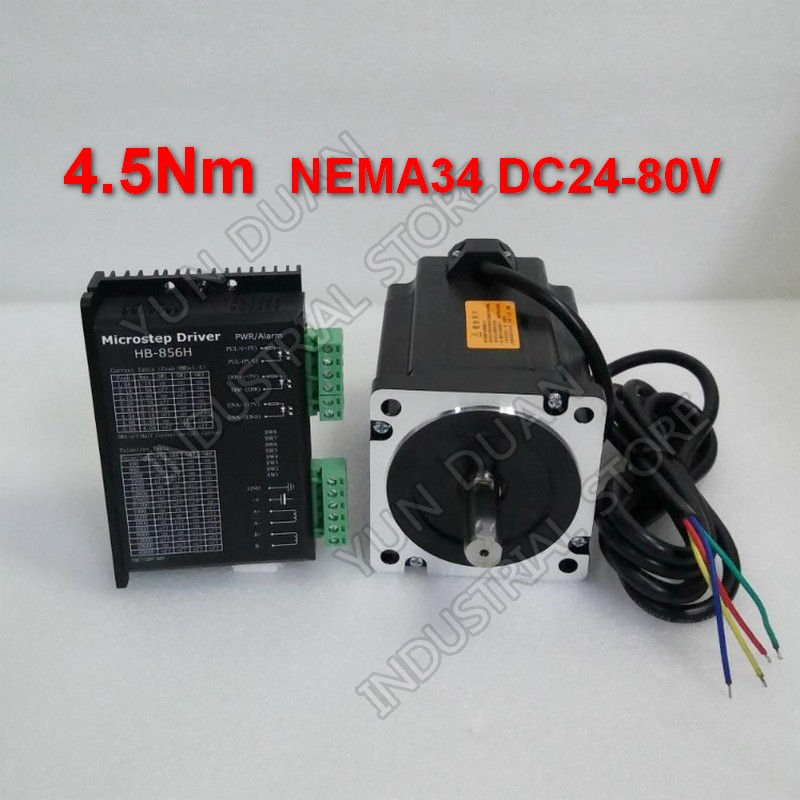 4.5Nm 86mm NEMA34 5.6A Stepper Motor Driver Kit 32 DSP DC24-80V Universal 256 Microstep 200-51200 steps/revHigh Torque For CNC4.5Nm 86mm NEMA34 5.6A Stepper Motor Driver Kit 32 DSP DC24-80V Universal 256 Microstep 200-51200 steps/revHigh Torque For CNC