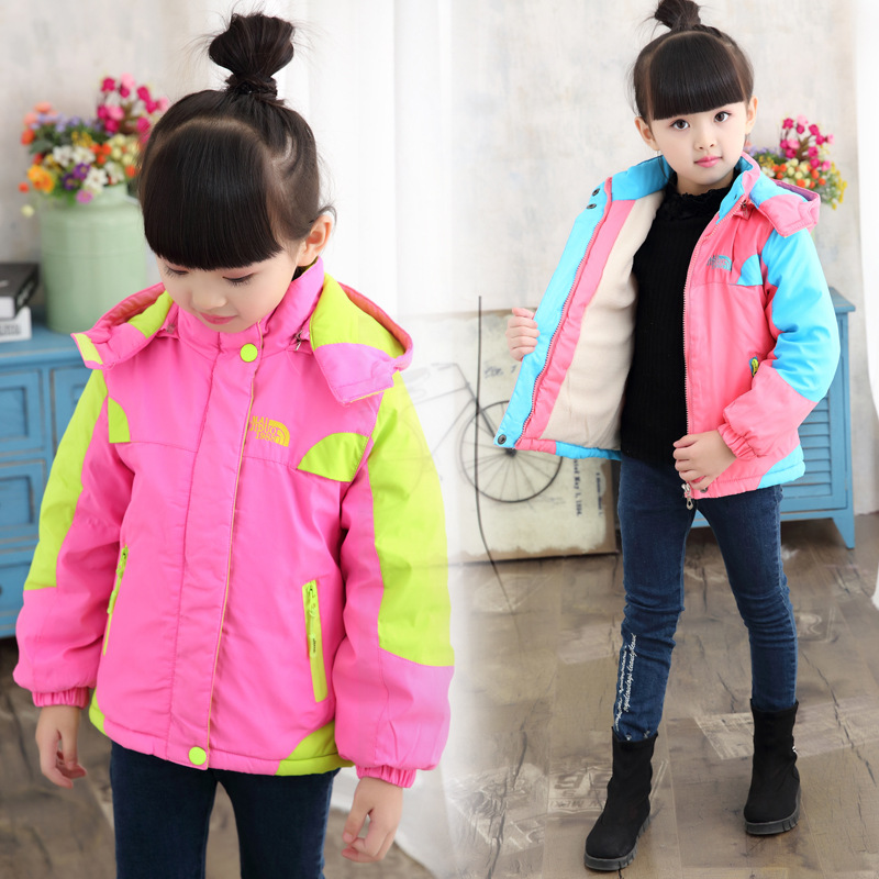 2018 New Winter Korean Style Girl Warm Windbreaker Jackets Patchwork Sports Wear Kids Thick Cotton Padded Jacket /Coat With Hood winter chinese style retro frog contrast color frog and print jacket coat cotton padded jacket windbreaker