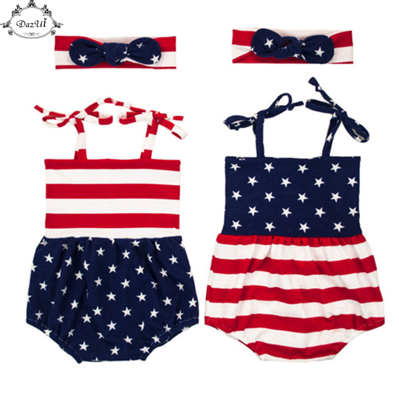 2e9269adf Patriotic Baby Clothes Striped Ameican Flag Baby Girls Bodysuit Headband  Set 4th Of July Baby Boy Clothes American Kids Sunsuit
