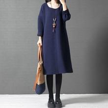 Women Dresses Blue Gray Black Color Long Sleeve Maxi Dress Plus Size Women Clothing O Neck Cotton Casual Loose Autumn Dress
