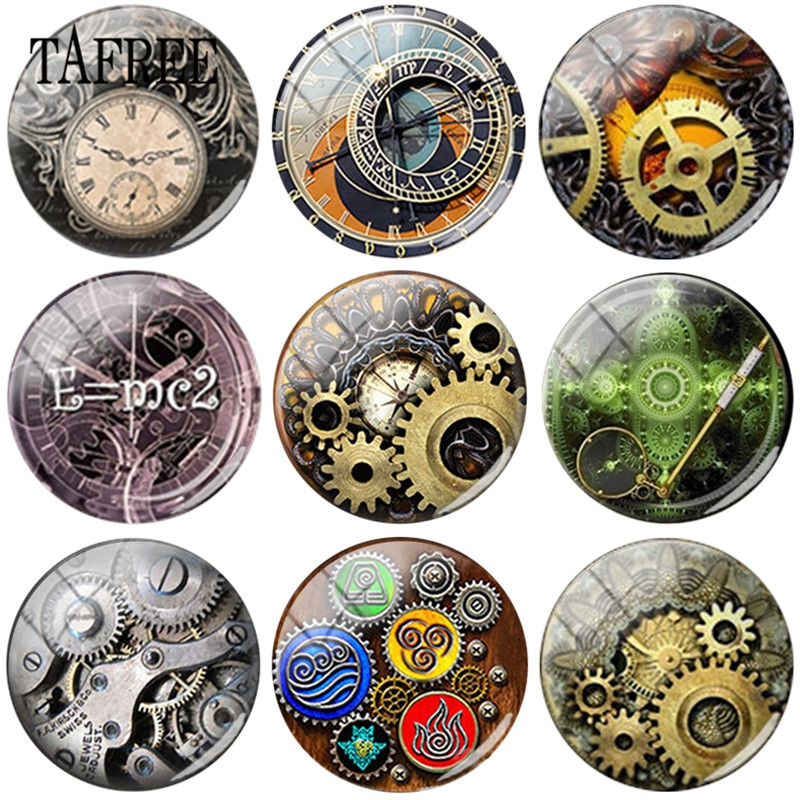 TAFREE Steam Punk Clock Gear Art Pictures 25mm DIY Glass Cabochon Dome Pictures For Keychain Necklaces Accessories in Jewelry Findings Components from Jewelry Accessories