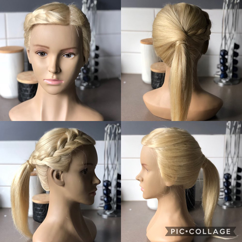 14Inch Mannequin Training Head 100% Human Hair Salon Hairdressing Practice Cosmetology Hair Styling Training Head Free Clamp