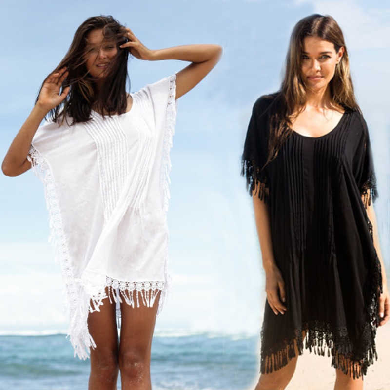 00c9ee2741 Detail Feedback Questions about Sarongs For Beach Cover Up Tunics Large  Size Women Wear Summer Bathrobe 2018 Rayon Pressure Loose Pleated Lace  Swimsuit ...