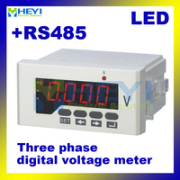 Three phase mini digital voltmeter HY 3AV series dc ac voltmeter Class 0.5 measuring instrument with RS485 communication