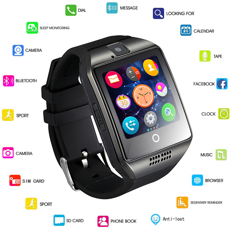 GEJIAN Q18 Passometer font b Smart b font watch with Touch Screen camera Support TF card
