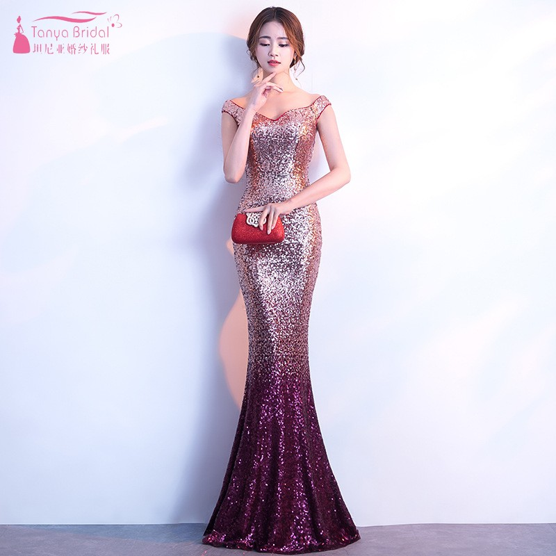 Fashion Maid of Honor Dresses Mermaid Bridesmaid Dresses 2019 Gold Burgundy Long Wedding Party Guest Dress Gown JQ111