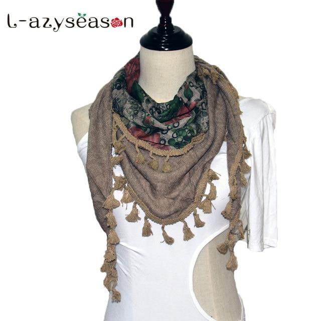 2539796ba24e 2018 De Mode de Femmes Automne Hiver Écharpe femmes hijab triangulaire écharpe  Châles De Base Imprimer