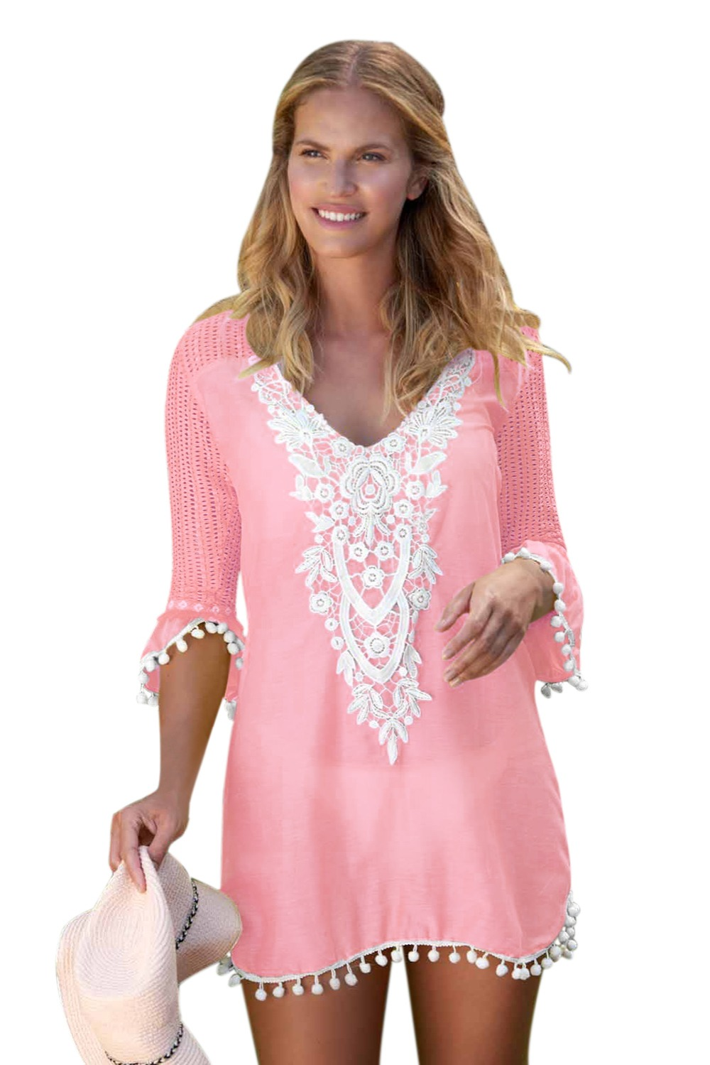 fbd5b644196d5 US $12.74 20% OFF|Zmvkgsoa Kaftan Beach Dress Women Summer Wear Crochet  Mini Dresses Clothing Tunic Beachwear For Girls Saida De Praia V42231-in ...