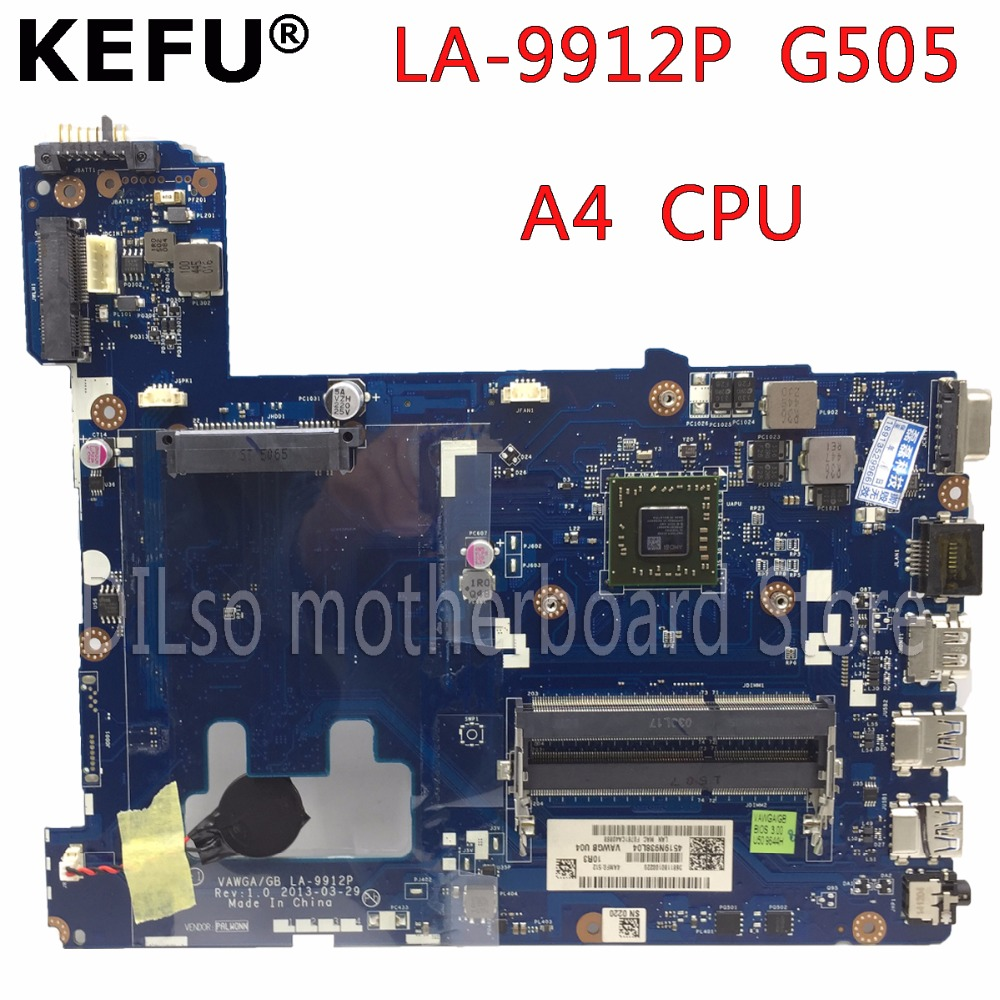KEFU LA-9912P laptop motherboard for Lenovo ideapad g505 LA-9912P laptop motherboard A4 CPU tested motherboard