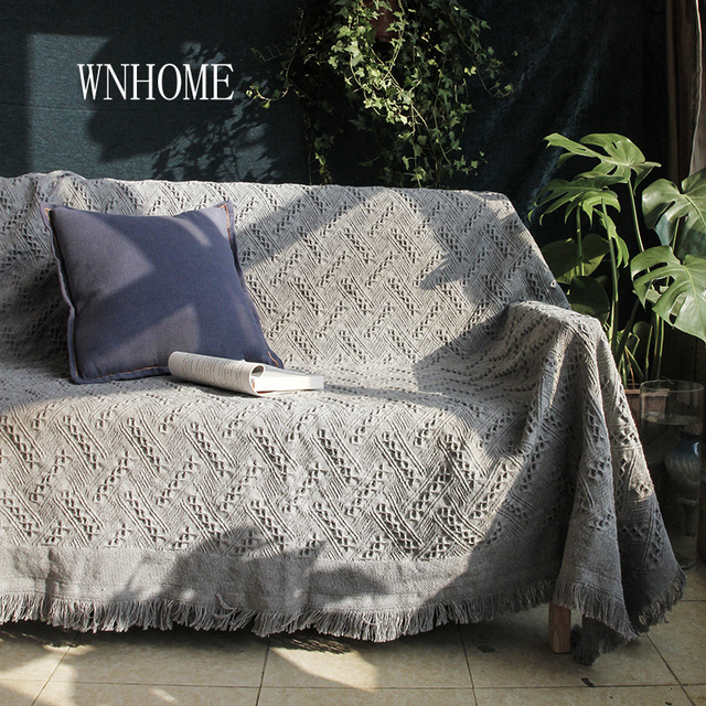 2018 New Knitted Sofa Covers 2 Colours Grey Blue Throw Blankets For Sofas Home Textile Slipcover