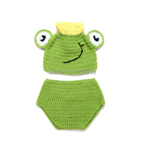 rana linda tiara hecha a mano ganchillo del beb del sombrero y pantalones cortos nacidos accesorios