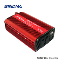 BRIDNA 2018 New 500W Car Inverter 12v 220v 50Hz Auto Inverter Cigarette Lighter Plug Power Converter with dual Usb 4.8A convertidor de energia para auto