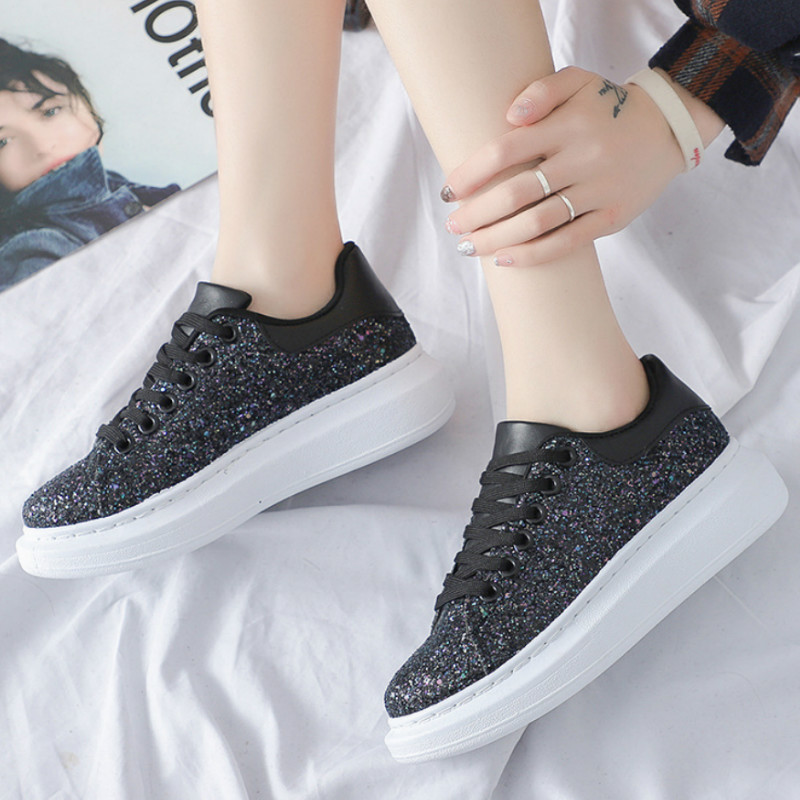 Fashion Lady Casual White Shoes Women Sneaker Black Leisure Thick Soled Shoes Flats Glossy Lace-Up White female student X1-69(China)