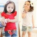 Meninas do bebê Bonito Floral Collar T-shirt Manga Curta Tops Blusa Camisas