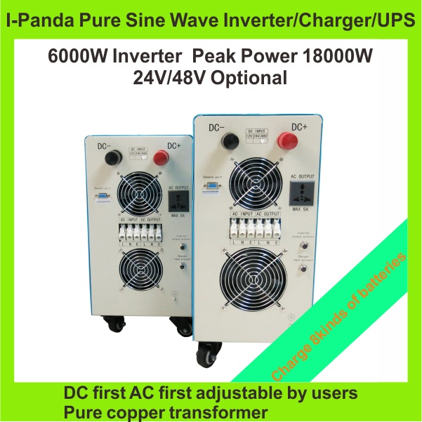 6000W  Solar power 24V 48V DC to AC pure sine wave inverter charger  with UPS pump inverter air conditioner inverter
