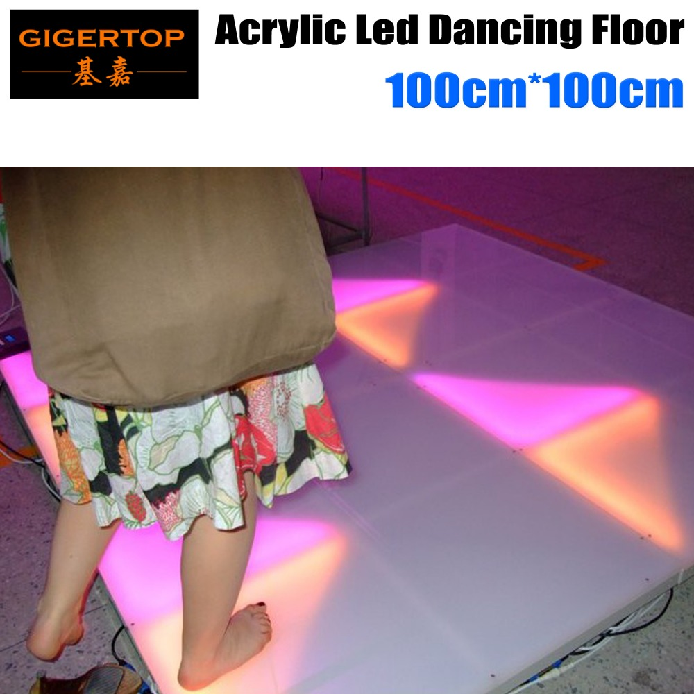 Tiptop 1m*1m Rgb Color Led Dance Floor Acrylic Panel Aluminum Frame Abs Basement Dmx Control 7 Channels 960*5mm Leds 110v-240v