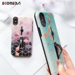 EKONEDA Hidden Holder For iPhone 7 Plus Case iPhone X Case Ring Relief Ingradient Geometric For iPhone XS Max XR 6S 8 Plus Case 5