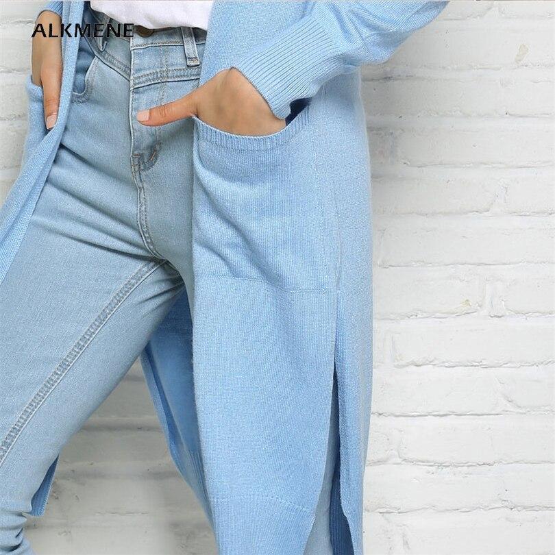 ALKMENE Irreguler Knitted Long Cardigan Women 2017 Spring Light Blue  Fashion Split Wool Knitted Cardigan Women s Femmen Jumper-in Cardigans from  Women s ... 35ed8645d