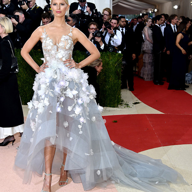 39ef54dffa01 Inspired Met Gala Celebrity Dresses High Low Sexy Hot Light Blue Evening  Dress with White Flowers