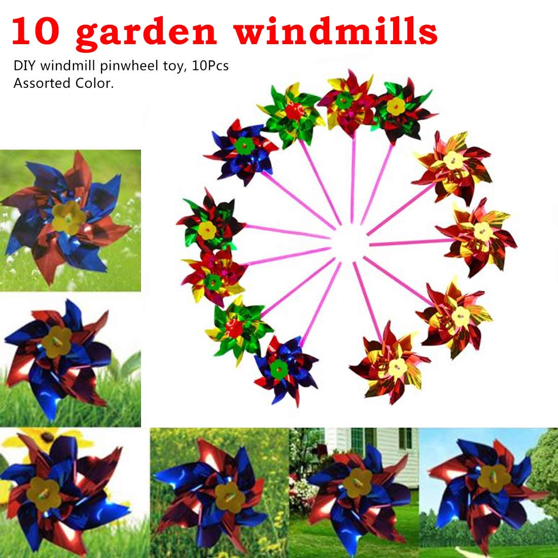 10pc Random Color 15 * 36.5cm Colorful Plastic Sequins Windmill Whirligig Wind Spinner Home Yard Garden Decor DIY Pinwheel Toy
