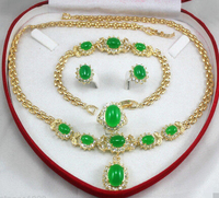 FREE SHIPPING>>@> 00784 jewelry green jade yellow gold Earring Bracelet Necklace Ring +(box) jewelry set Natural jewelry
