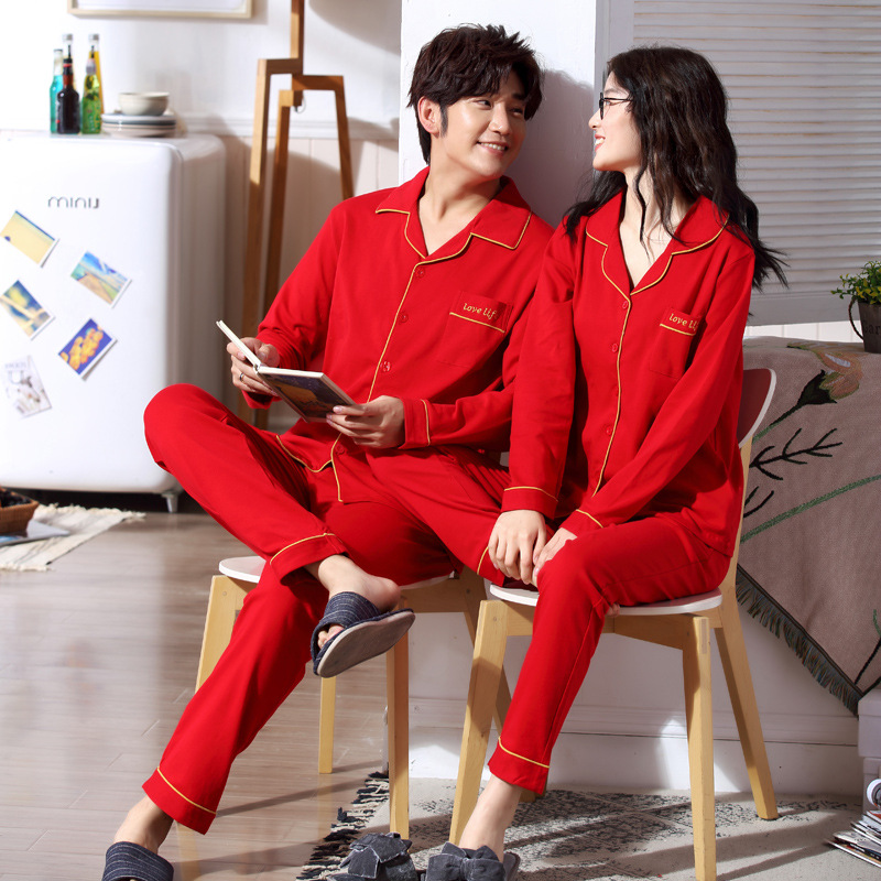 Women and men autumn and winter cotton couple   pajamas   long sleeve trousers cardigan Korean red wedding women and men   pajama     sets