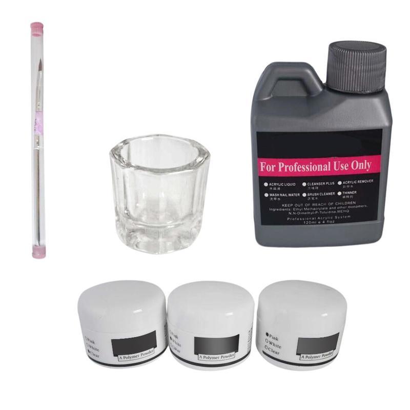 Set de manucure acrylique liquide 3 couleurs cristal poudre Nail Art Kit brosse outils pour femme maison boutique