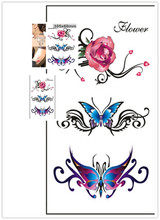 Flower Beautiful Butterfly Pink Rose Print Temp Tattoo Sickers Sized 10 X 6 Cm,