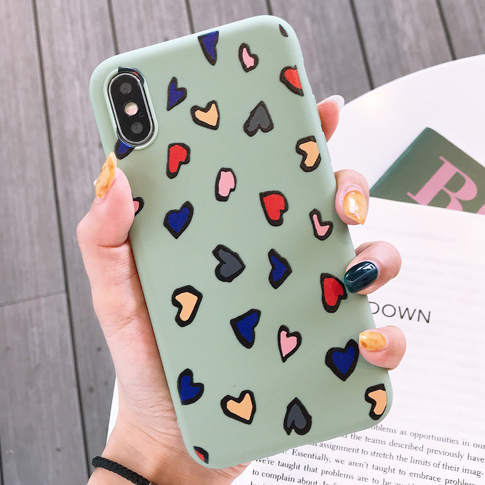 KIPX1116E_1_JONSNOW Phone Case for iPhone X XS XR XS Max 6 6S 7 8 Plus Painted Heart Leopard Style Frosted Soft Silicone Cover Cases Capa Fundas