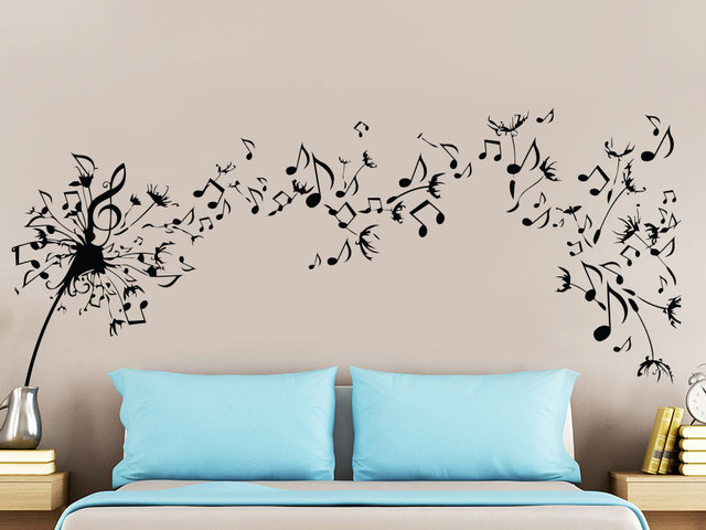 Beautiful Musical Quotes Flying Pattern Wall Stickers Home
