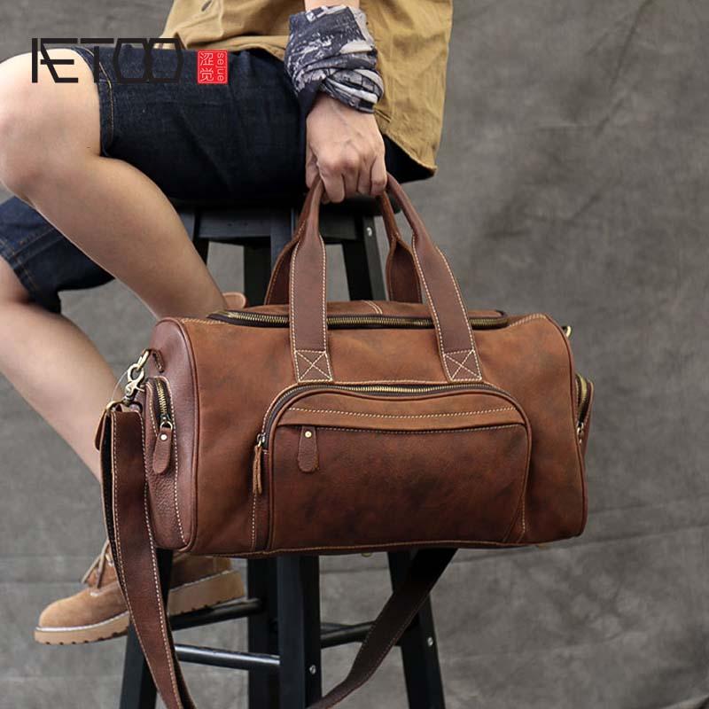Vintage Men's Travel Bag Genuine Leather Crazy Horse Leather Men's Large Travel Bag Leather Handbag Men