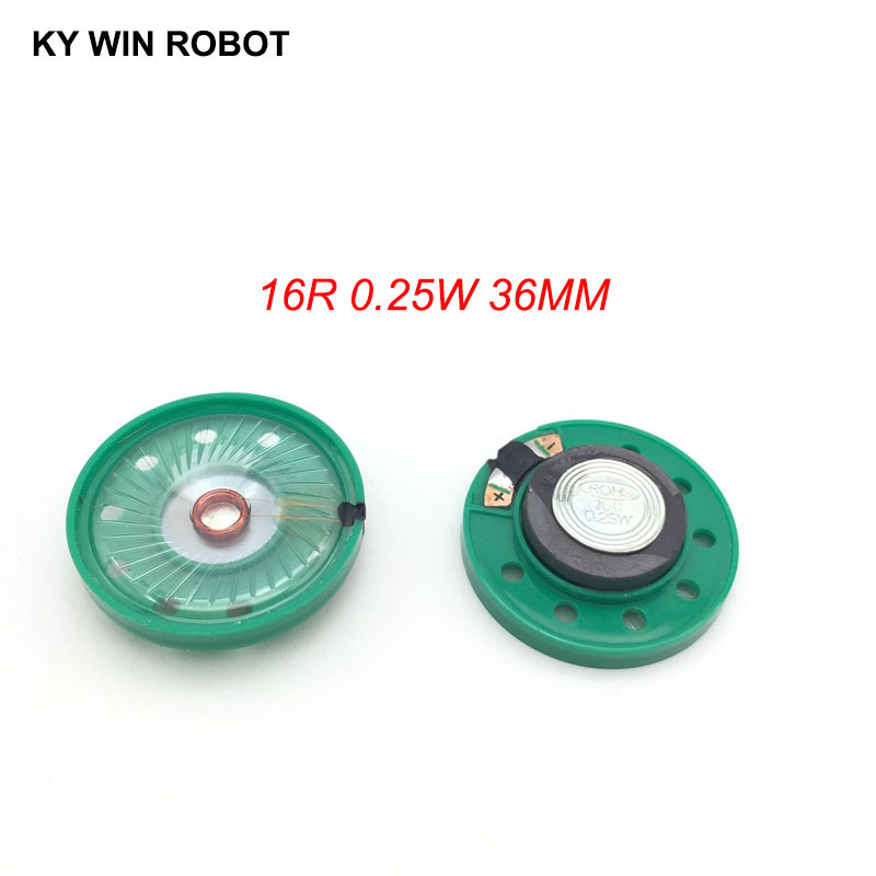 2pcs/lot New Green Ultra-thin Mini Speaker 16 Ohms 0.25 Watt 0.25W 16R Speaker Diameter 36MM 3.6CM Thickness 7MM