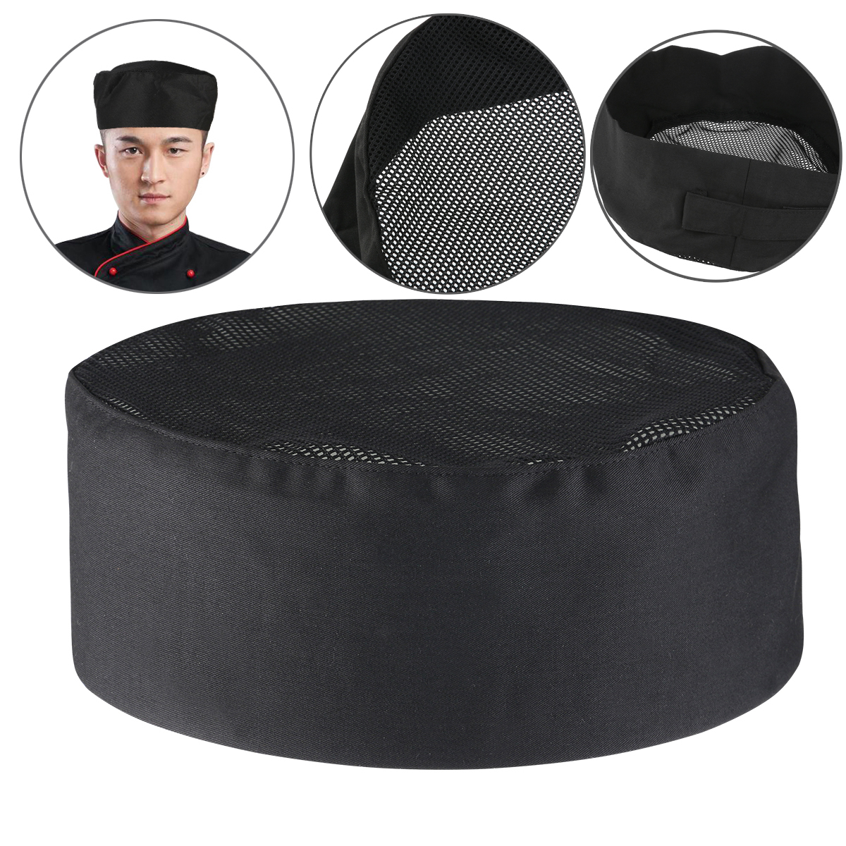 FOXNOVO Breathable Mesh Chefs Hat Cap Professional Catering Chefs Hat With Adjustable Strap Kitchen Supplies One Size Black in Other Kitchen Specialty Tools from Home Garden