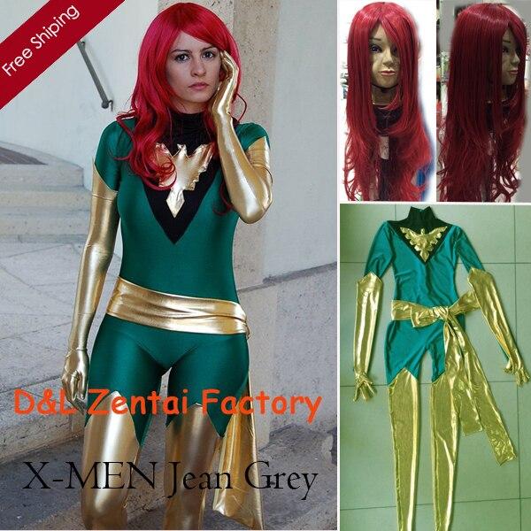 2017 Traje de Halloween, Traje Jean Grey, X Men-Phoenix Terno, Superhero Lycra Verde e Dourado Brilhante Metálico Zentai Catsuit