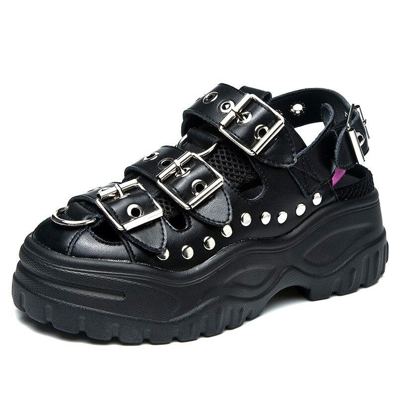 CuddlyIIPanda 2019 Punk Style Rivets Sandals Metal Buckle Genuine Leather Women Slides Platform Summer Shoes Sandalias