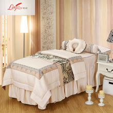 Comfortable beauty salon bedspread four-piece set custom quilt set pure color bedspread massage bedspread lace bed set