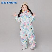 SEARIPE/Зимний лыжный костюм для девочек; детская Водонепроницаемая теплая куртка для сноуборда; Лыжная куртка; брюки для сноуборда; Лыжная зимняя одежда