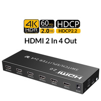 HDMI 2.0 2 In 4 Out HDCP2.2 4K@60Hz HDR HDMI Switch Splitter 2x4 Optical 3.5mm Audio Extractor for TV projector ps4 xbox