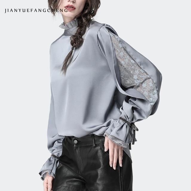Satin Frauen Bluse Stehen Rüschen Kragen Split Spitze Hülse Lose Plus Größe Damen Tops Mode Neue 2019 Weibliche Tops Und blusen